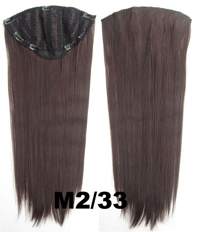 24 Inch Women Straight and Long Shining One Piece 7 Clips Clip in Synthetic Hair ExtensionM2/33#