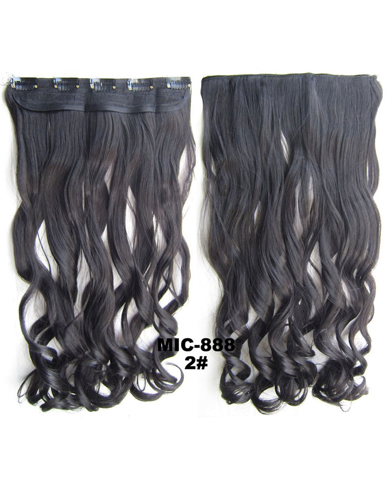 24 Inch Women Unique Body Wave Curly Long One Piece 5 Clips Clip in Synthetic Hair 2#