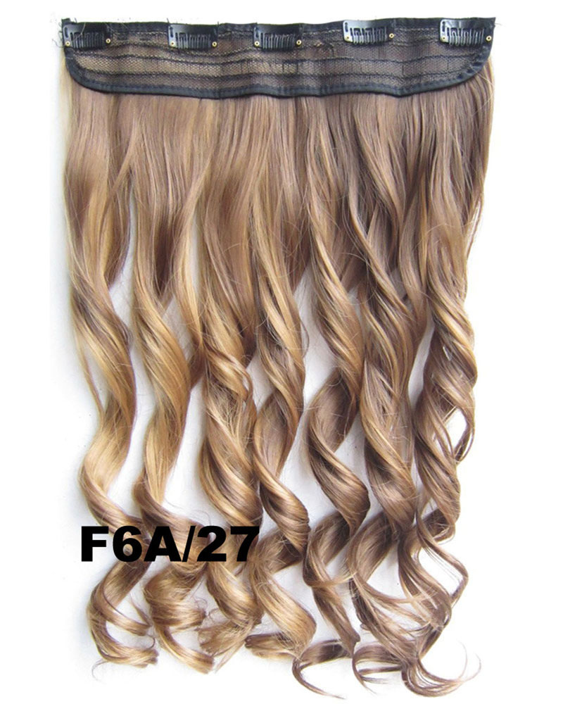 24 Inch Women Vivid Body Wave Curly Long One Piece 5 Clips Clip in Synthetic Hair F6A/27