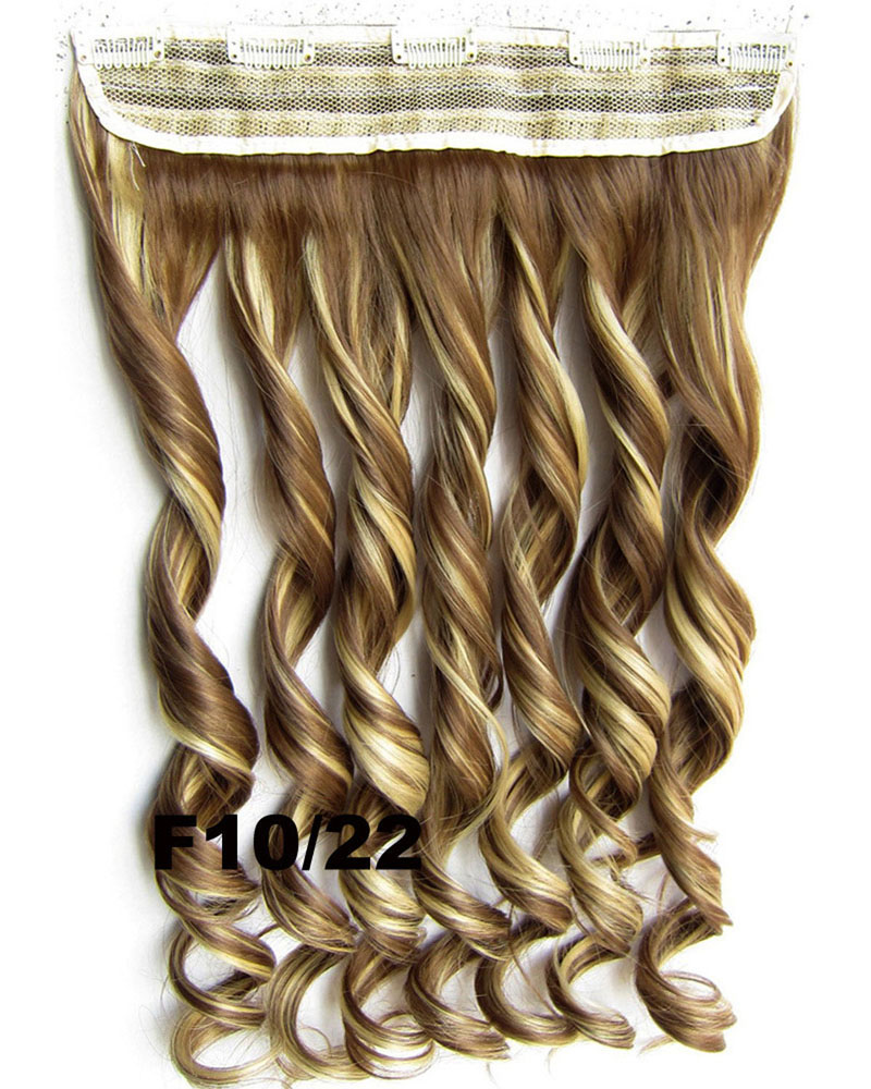 24 Inch Women Vogue Body Wave Curly Long One Piece 5 Clips Clip in Synthetic Hair Extension F10/22