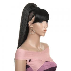 24 Inches Kinky Straight Ponytail With Side Bangs Synthetic Hair High ponytail With Bangs