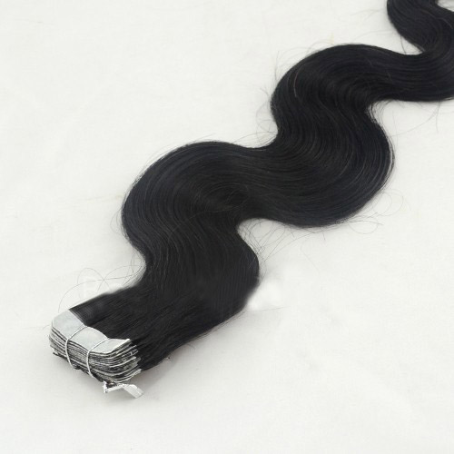 26 Inch #1 Jet Black Glamourous Tape In Hair Extensions Body Wave 20 Pcs details pic 3