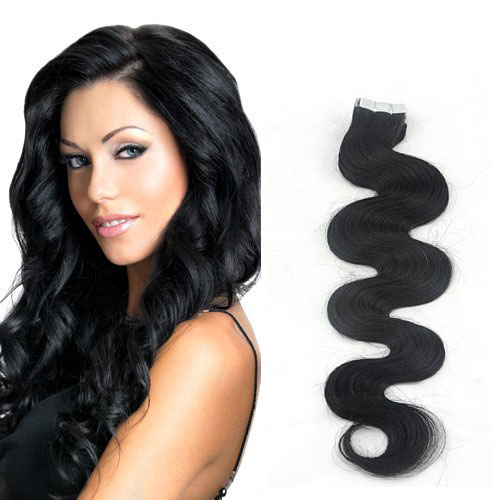 26 Inch #1 Jet Black Glamourous Tape In Hair Extensions Body Wave 20 Pcs