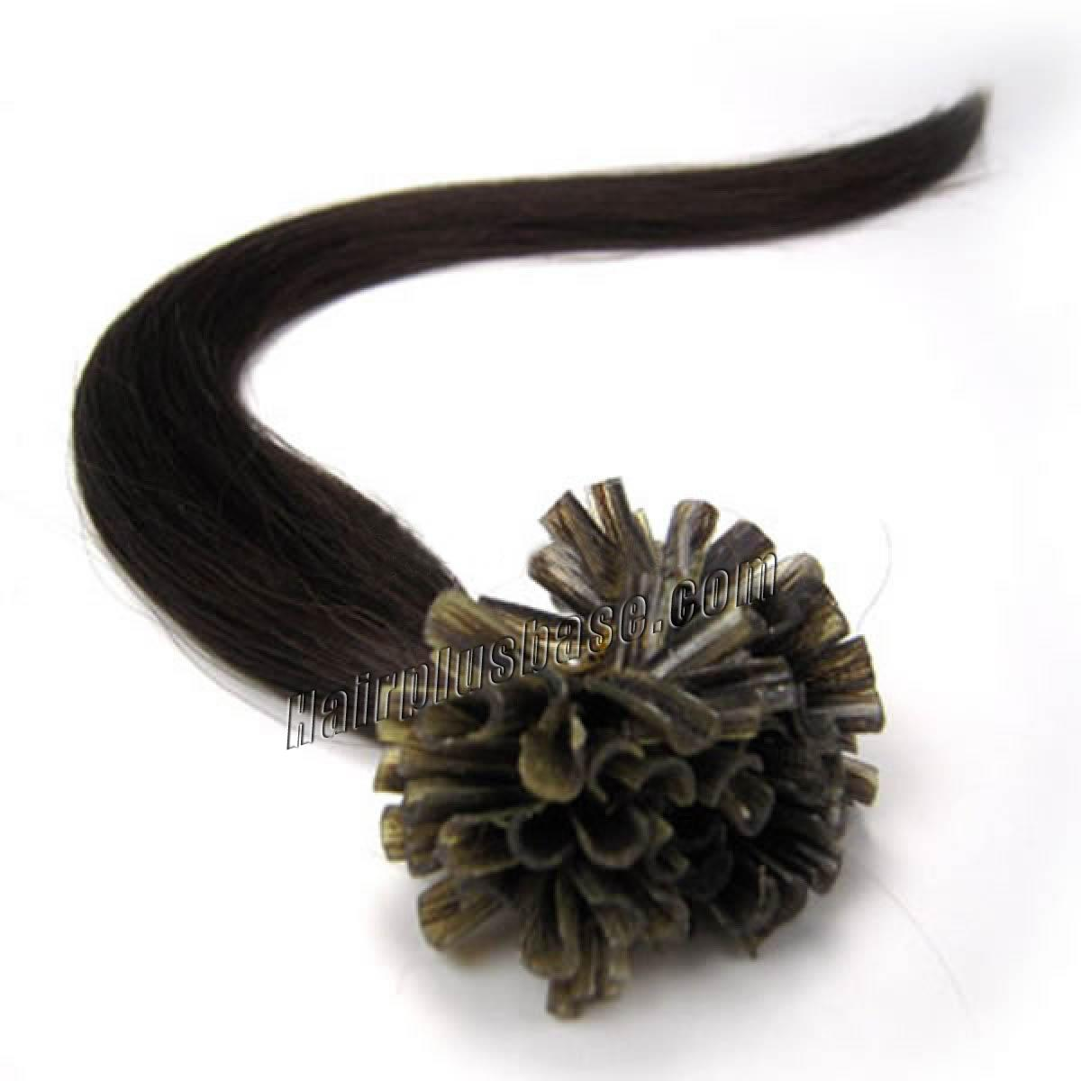 26 Inch 2 Dark Brown Nail Tip Human Hair Extensions 100s