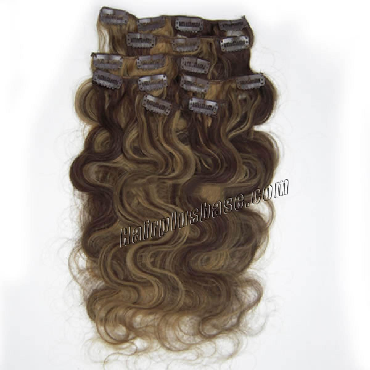 26 Inch #4/27 Brown/Blonde Stylish Clip In Hair Extensions Body Wave 7 Pcs no 1