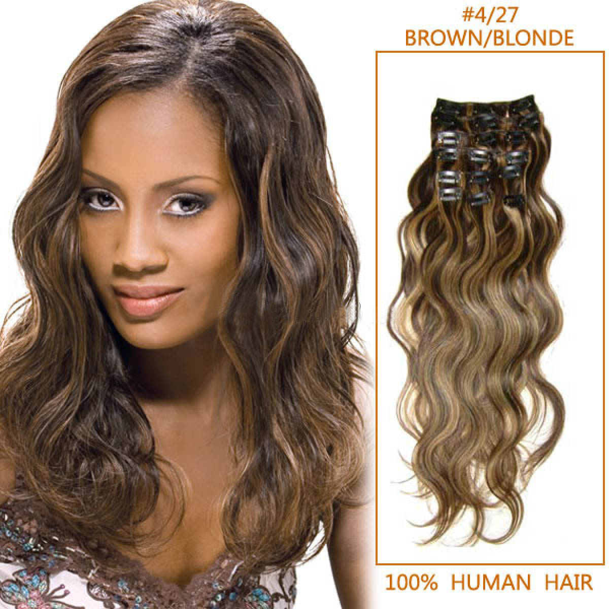 26 Inch #4/27 Brown/Blonde Stylish Clip In Hair Extensions Body Wave 7 Pcs