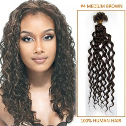 26 Inch 100 Strands Curly Nail / U Tip Hair Extensions #4 Medium Brown in Good Quality