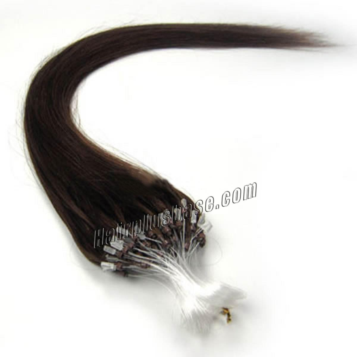 26 Inch #4 Medium Brown Micro Loop Human Hair Extensions 100S no 1