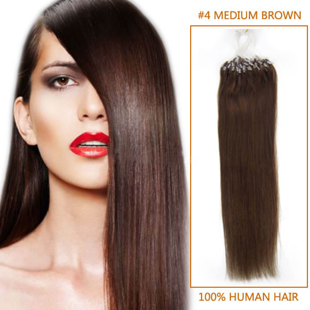 26 Inch 4 Medium Brown Micro Loop Human Hair Extensions 100s