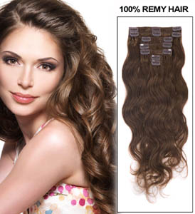 26 Inch #6 Light Brown Clip In Hair Extensions Body Wave 11 Pieces