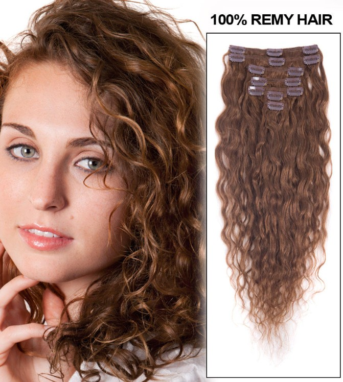 26 Inch 6 Light Brown Clip In Hair Extensions Exquisite Loose Wavy