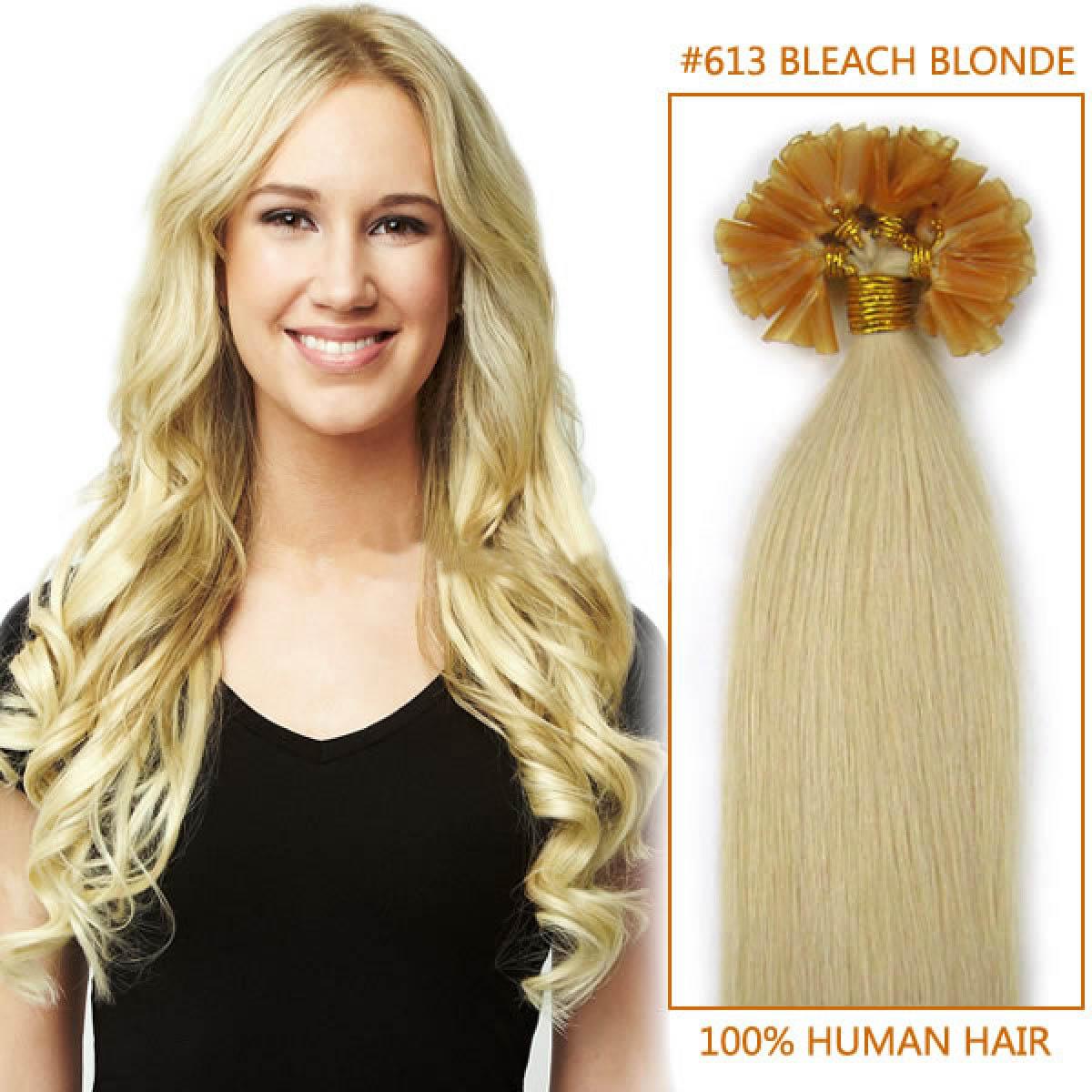 26 Inch 613 Bleach Blonde 100s Nail Tip Hair Extensions 100s