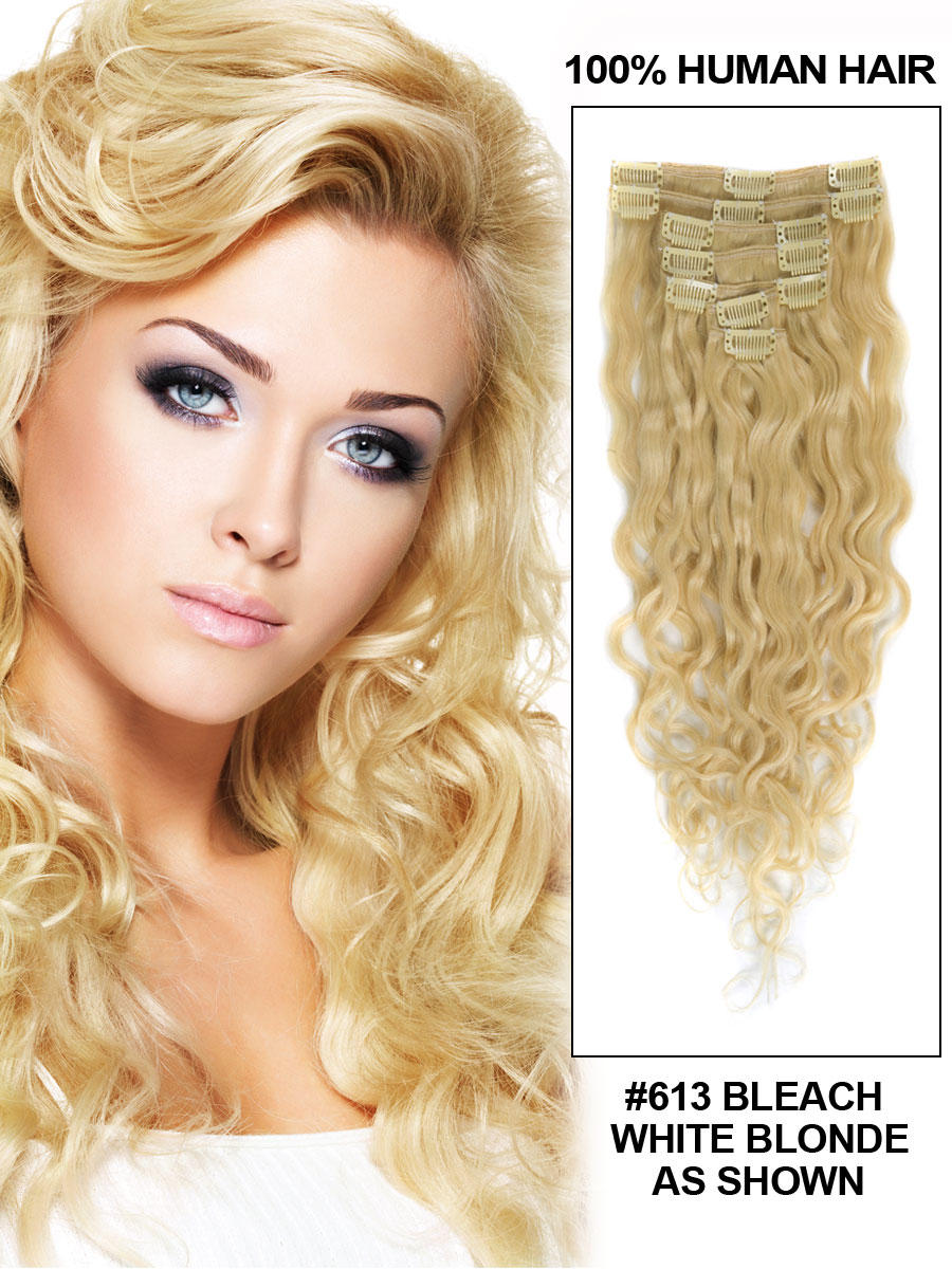 26 Inch 613 Bleach Blonde Clip In Hair Extensions Remy Loose Wavy 7 Pcs