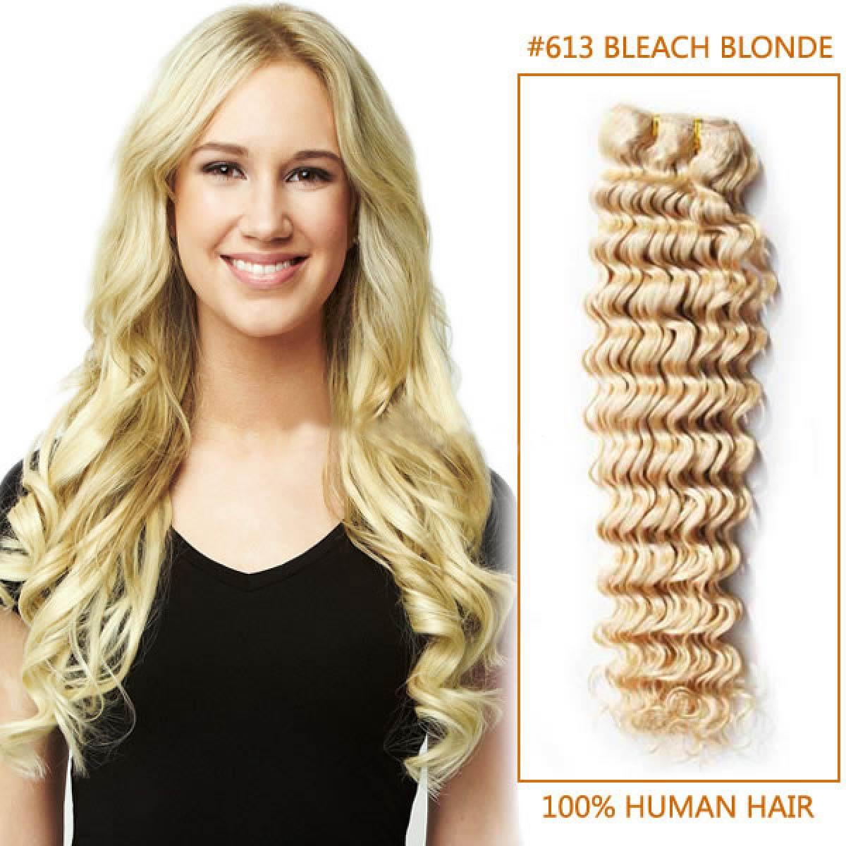 26 Inch #613 Bleach Blonde Deep Wave Brazilian Virgin Hair Wefts