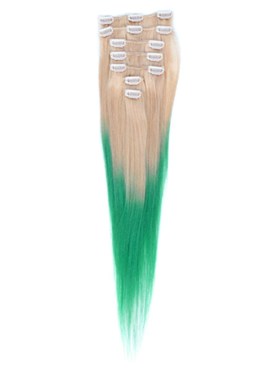26 Inch Bleach and Lime Green Ombre Clip in Hair Extensions Two Tone Straight 9 Pieces #613TGreen no 1