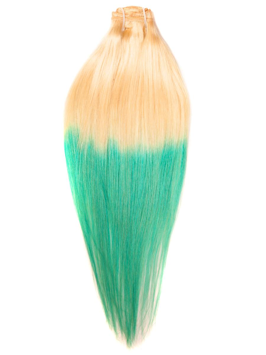 26 Inch Bleach and Lime Green Ombre Clip in Hair Extensions Two Tone Straight 9 Pieces #613TGreen no 2