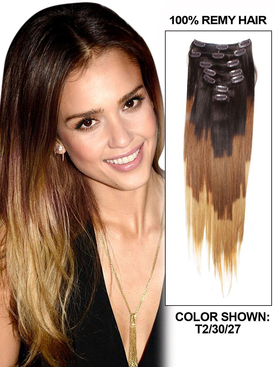 26 Inch Elaborate Ombre Clip In Hair Extensions Three Tone Straight
