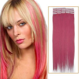 26 Inch Pink Tape In Human Hair Extensions 20pcs