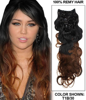 26 Inch Popular Ombre Clip in Hair Extensions Two Tone Body Wave 9 Pieces