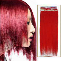 26 Inch Red Tape In Human Hair Extensions 20pcs