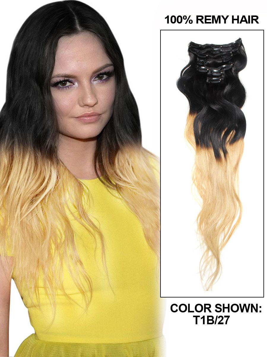 26 Inch Stylish Ombre Clip In Hair Extensions Two Tone Body Wave 9