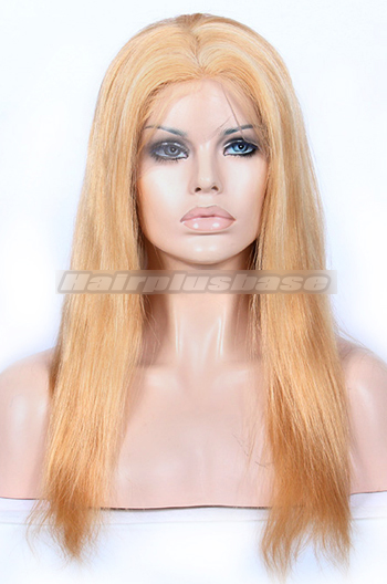 16 Inch #27/613 Blonde Chinese Virgin Hair Natural Straight Full Lace Wigs