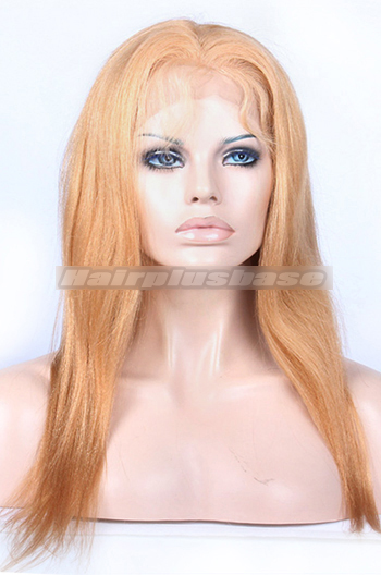 16 Inch #27 Blonde Chinese Virgin Hair Light Yaki Full Lace Wigs