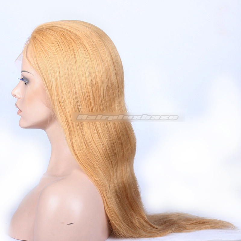 27# Blonde Color Chinese Virgin Hair Natural Straighti Full Lace Wigs