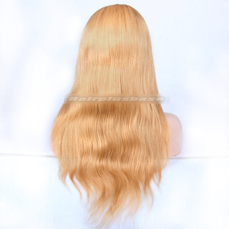 27# Blonde Color Chinese Virgin Hair Natural Straight Full Lace Wigs