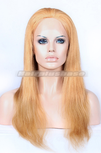 18 Inch #27 Blonde Chinese Virgin Hair Natural Straight Full Lace Wigs
