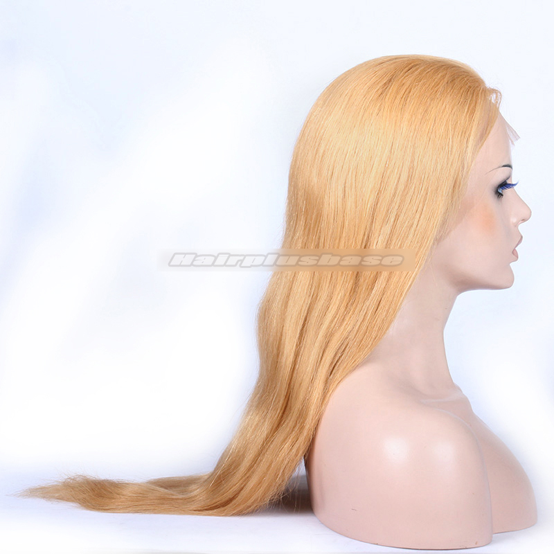 27# Blonde Color Chinese Virgin Hair Light Yaki Full Lace Wigs