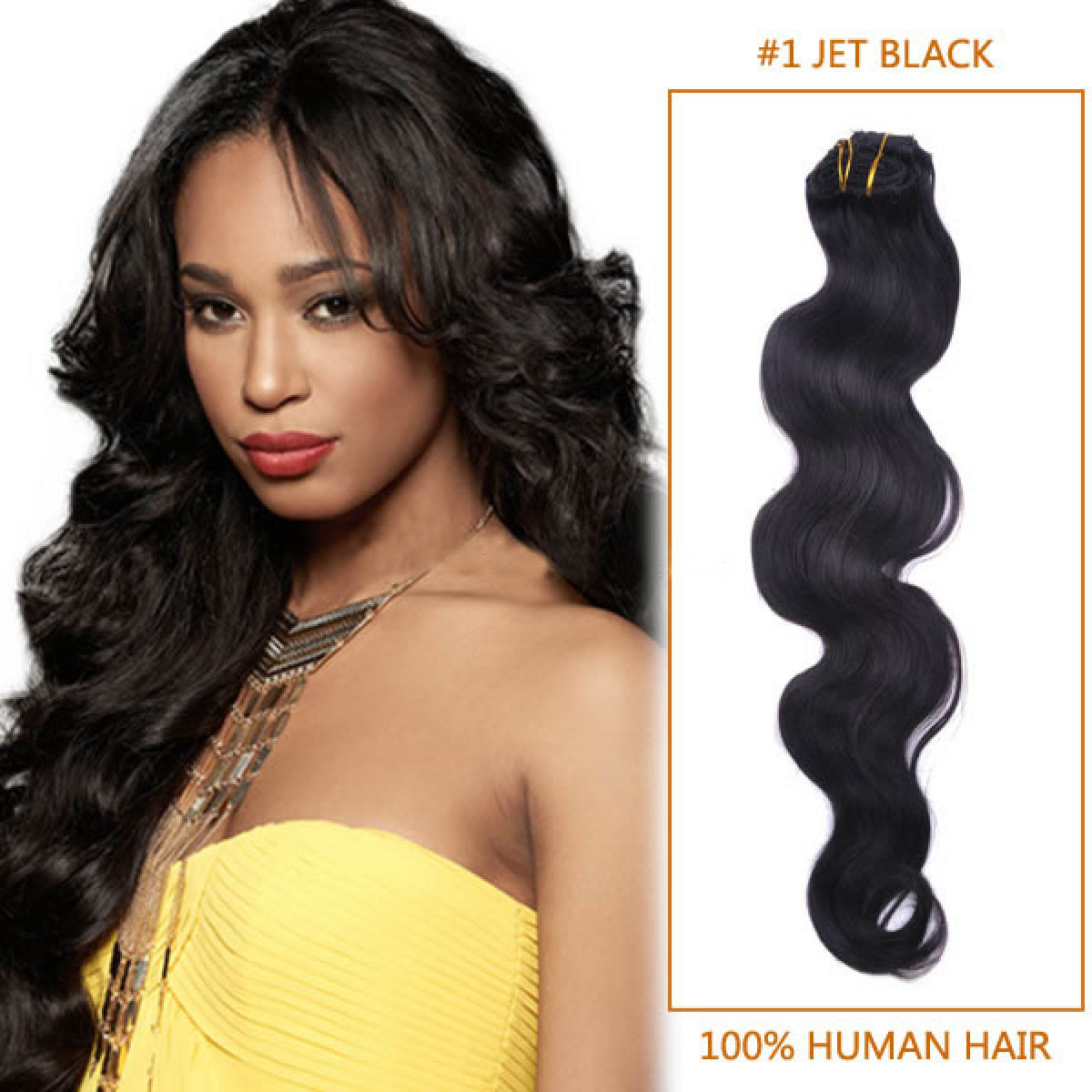 28 Inch 1 Jet Black Body Wave Indian Remy Hair Wefts