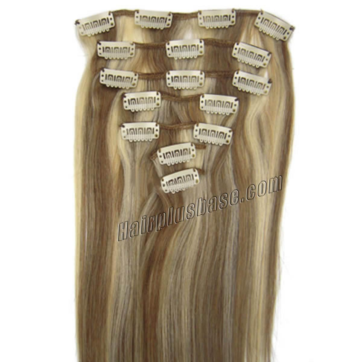 28 Inch 12613 Clip In Human Hair Extensions 8pcs