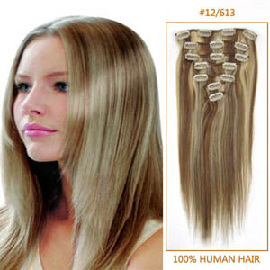28 Inch #12/613 Clip In Human Hair Extensions 8pcs
