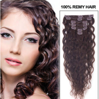 28 Inch (195g) #2 Dark Brown Deluxe Clip In Hair Extensions Loose Wavy 11 Pcs