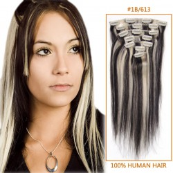 28 Inch #1b/613 Clip In Human Hair Extensions 8pcs
