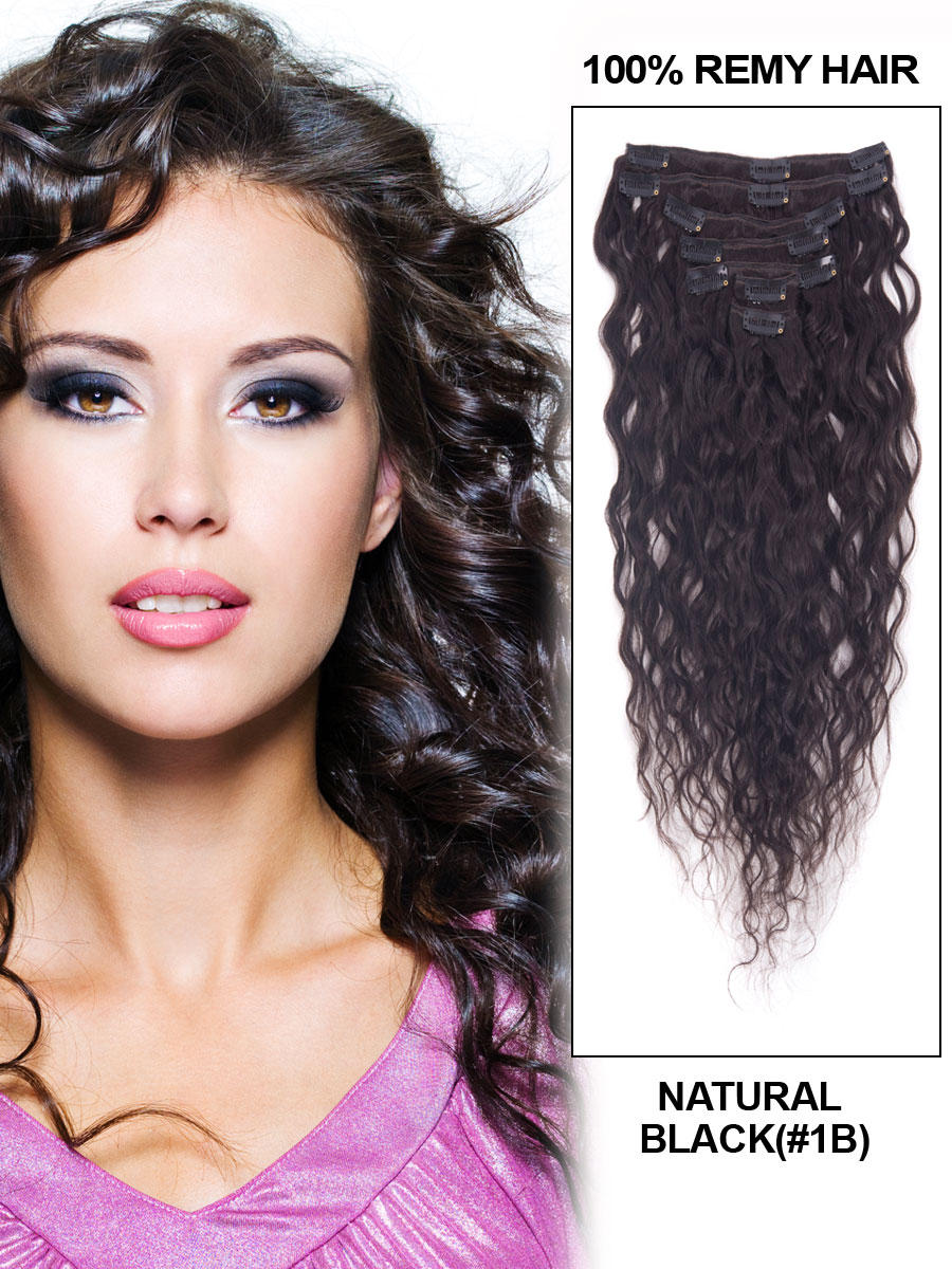 28 Inch 1b Natural Black Full Head Clip In Remy Hair Extensions