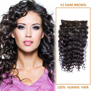 28 Inch #2 Dark Brown Clip In Human Hair Extensions Deep Curly 7 Pcs