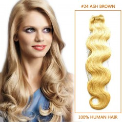 28 Inch #24 Ash Blonde Body Wave Brazilian Virgin Hair Wefts