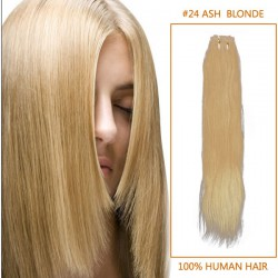 28 Inch #24 Ash Blonde Straight Indian Remy Hair Wefts