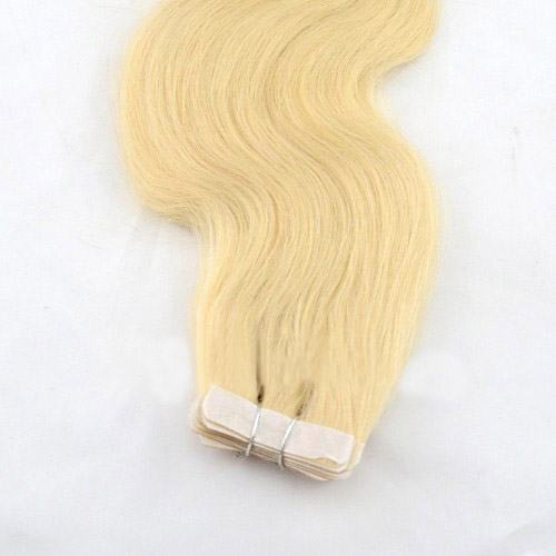 34 Inch #24 Ash Blonde Tape In Hair Extensions Silky Body Wave 20 Pcs details pic 4