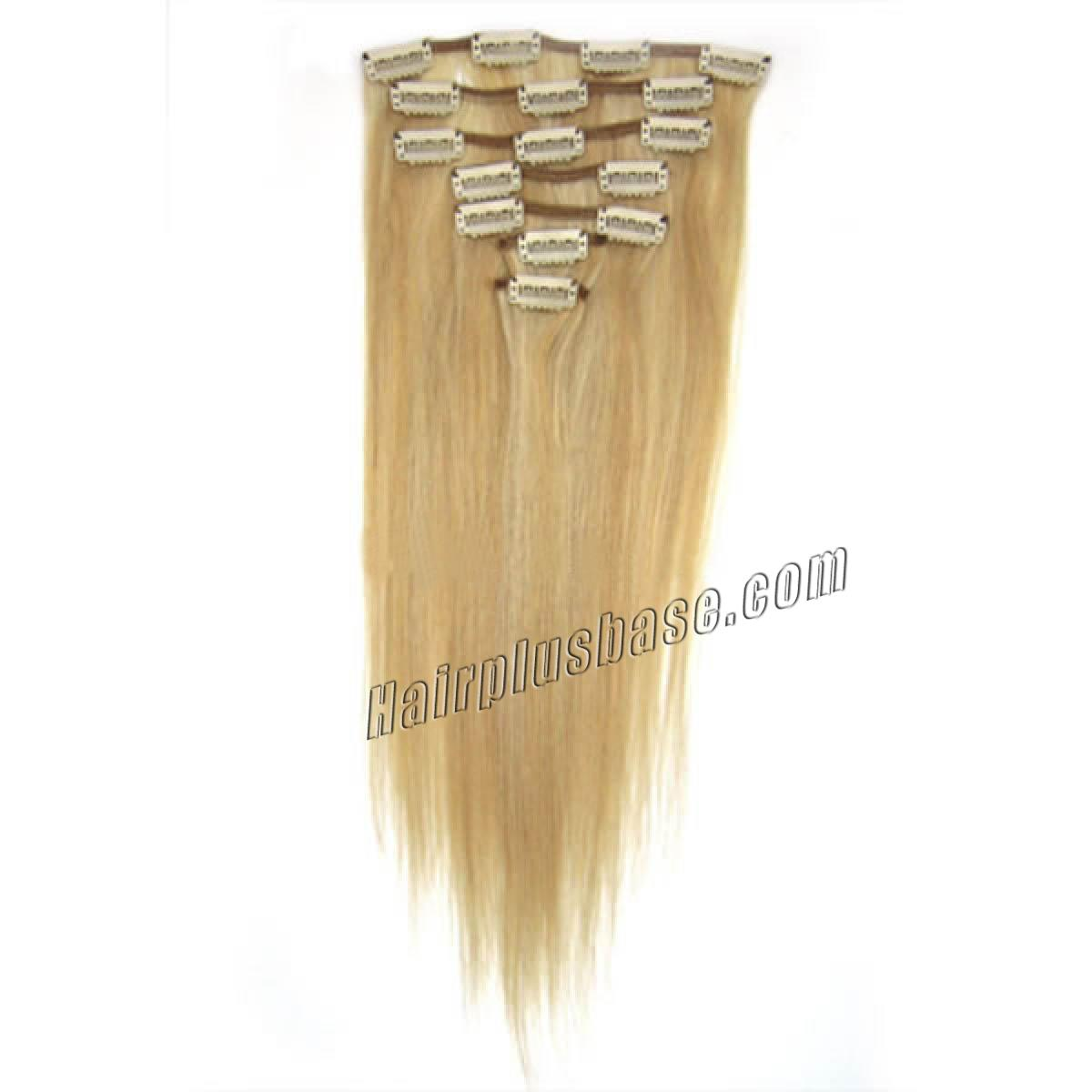 28 Inch 27613 Blonde Highlight Clip In Human Hair Extensions 10pcs