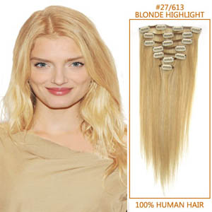 28 Inch #27/613 Blonde Highlight Clip In Human Hair Extensions 8pcs