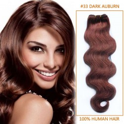 28 Inch #33 Dark Auburn Body Wave Brazilian Virgin Hair Wefts