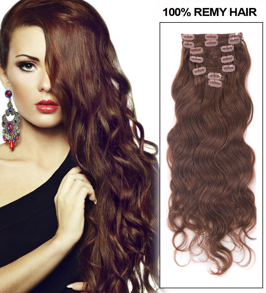28 Inch 33 Rich Copper Red Clip In Hair Extensions Body Wave 11 Pcs