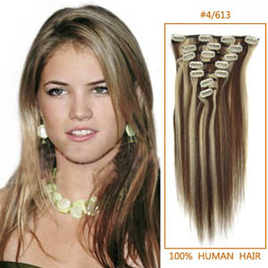 28 Inch #4/613 Clip In Human Hair Extensions 8pcs