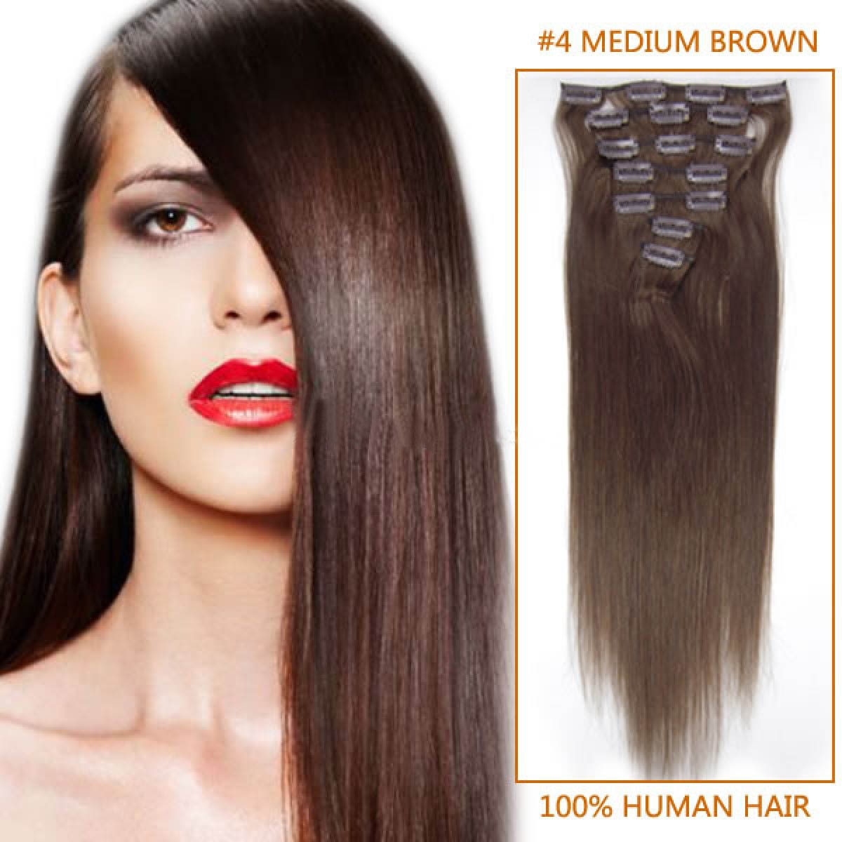 28 Inch 4 Medium Brown Clip In Remy Human Hair Extensions 7pcs
