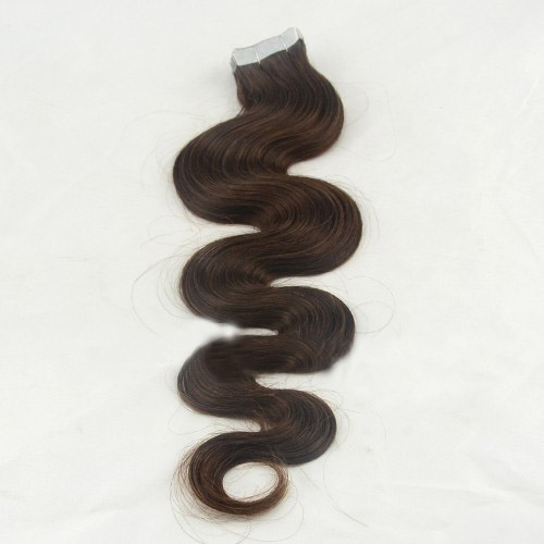 28 Inch #4 Medium Brown Long Tape In Hair Extensions Body Wave 20 Pcs details pic 0