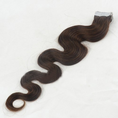 28 Inch #4 Medium Brown Long Tape In Hair Extensions Body Wave 20 Pcs details pic 1