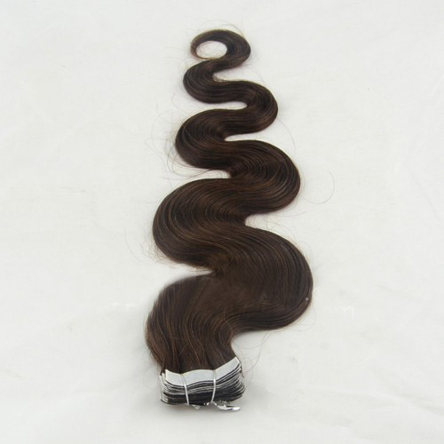 28 Inch #4 Medium Brown Long Tape In Hair Extensions Body Wave 20 Pcs details pic 2